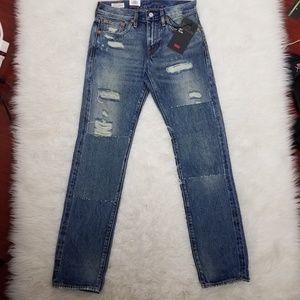 Levi's Selvedge Ripped Jeans Sz 28x32 Blue A10